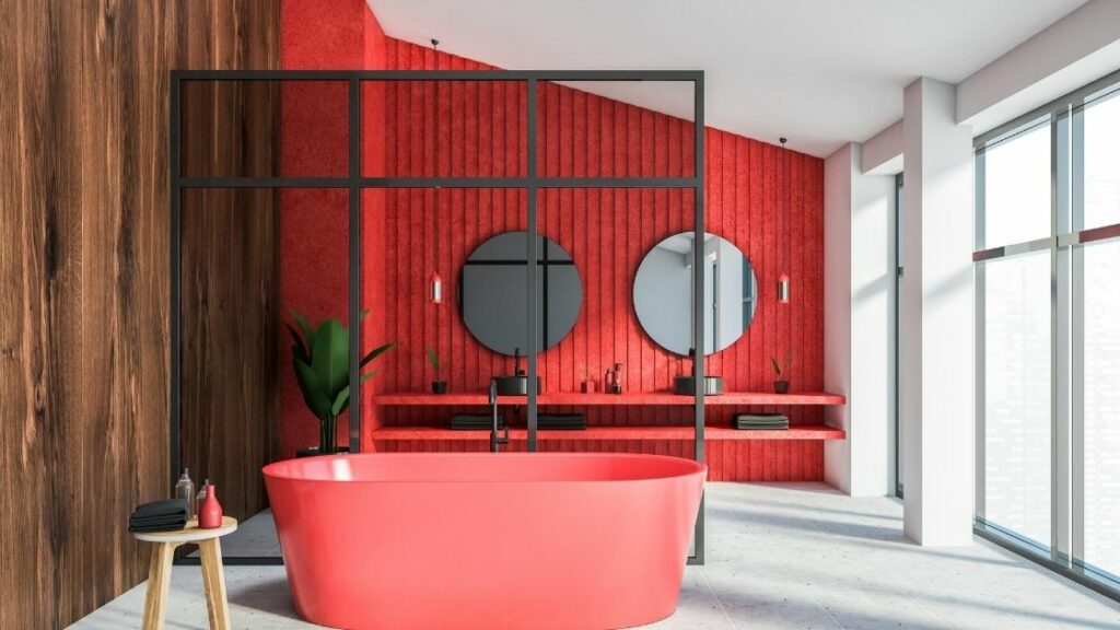 Red Attic Bathroom Feature