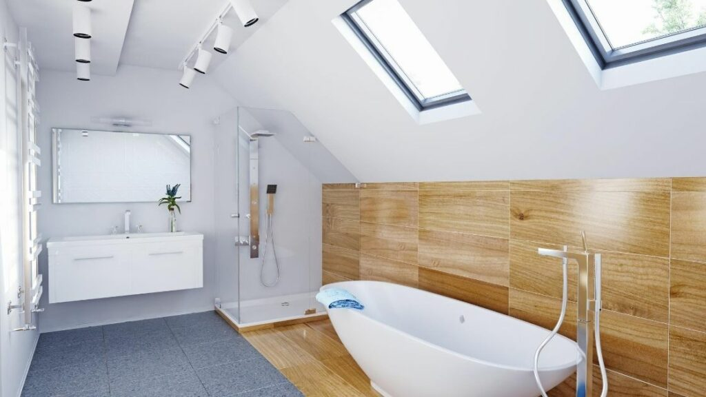 Attic Bathroom Enclosed Shower