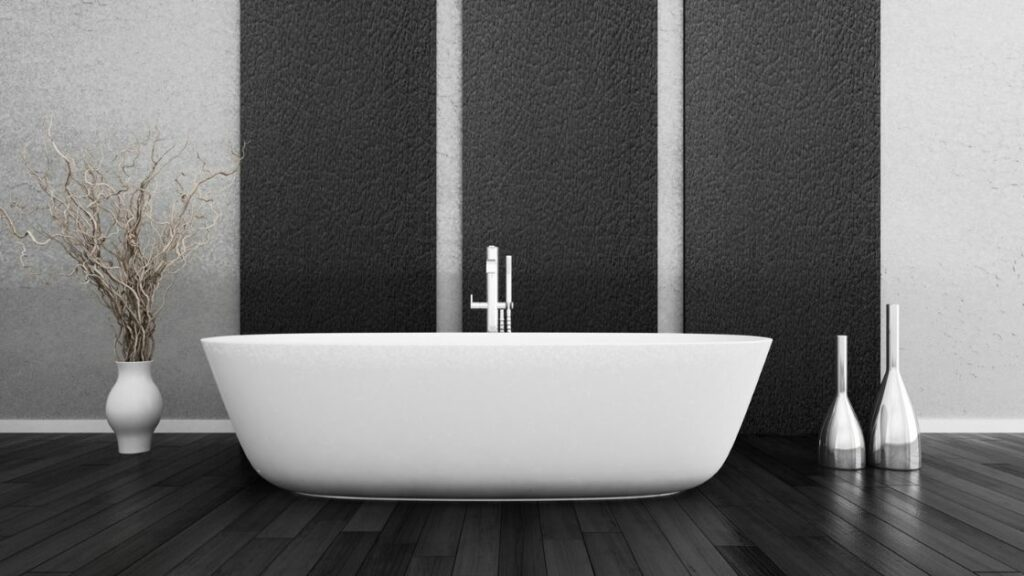 Gray and Black White tub