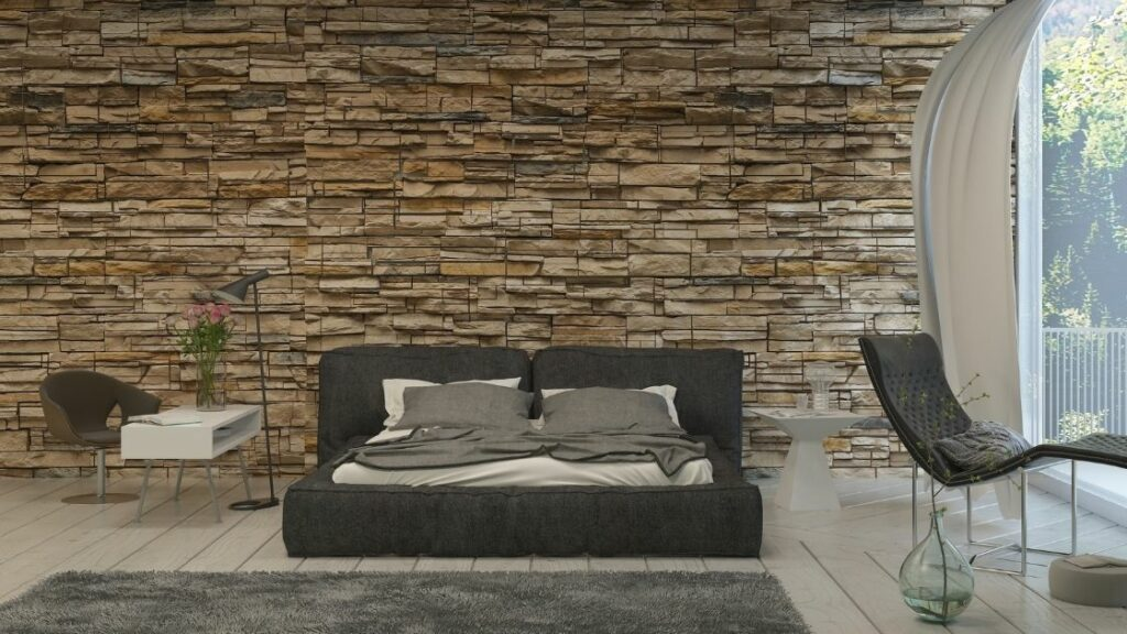 I love the stone wall in this room.