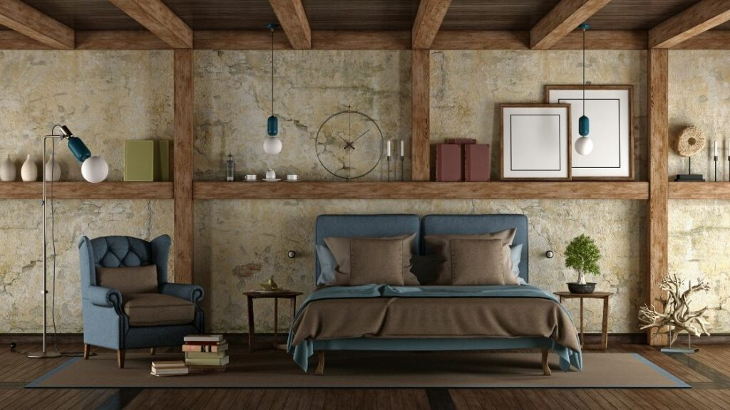 The wooden beams doubled as shelving and matched by the bedding and floorboards.
